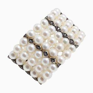 Braccialetto fatto a mano con perle bianche, diamanti 0,30 Ct, oro rosa e argento