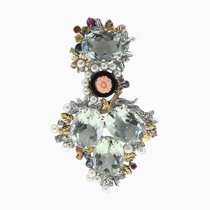 Grüner Amethyst, Diamant, Gravierte Rosa Koralle, Onyx, Saphir, Perle & Gold Anhänger