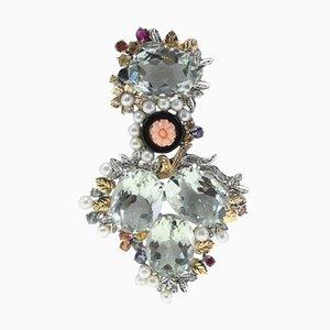 Pendentif en Améthyste Verte, Diamant, Corail Rose Gravé, Onyx, Saphir, Perle et Or