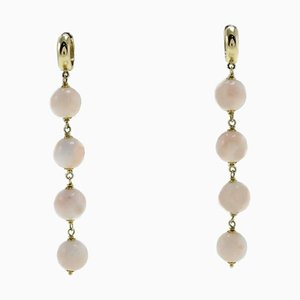 Pink Coral Spheres and 18K Yellow Gold Dangle/Drop Earrings, Set of Nan