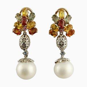 Boucles d'Oreilles Diamants Artisanaux, Saphirs Multicolores, Perles, Or Blanc et Rose, Set de 2