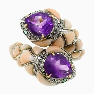 Amethyst, Coral, Diamond, Emerald, Gold and Silver Snake Ring