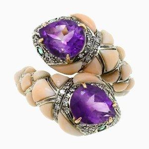 Schlangenring aus Amethyst, Koralle, Diamant, Smaragd, Gold und Silber