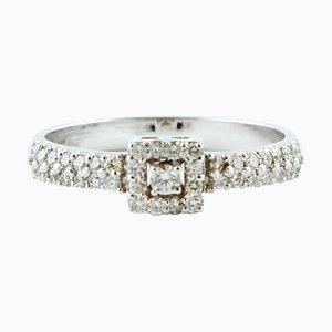 Diamond & 18 Karat White Gold Engagement Ring