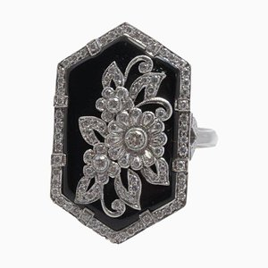 Handcrafted White Gold, Diamond and Onyx Ring