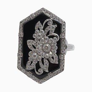 Handgefertigter Ring aus Weißgold, Diamant und Onyx