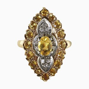 Diamond, Yellow Topaz, Rose Gold and Silver Ring
