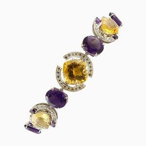 Weißgold Gliederarmband mit Weißen Diamanten, Gelben Topasen & Amethysten