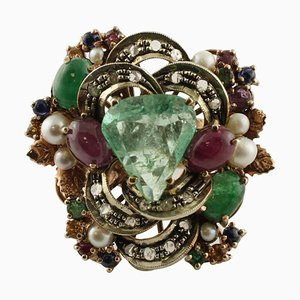Rose Gold & Silver Ring with Diamonds, Rubies, Emeralds, Blue & Yellow Sapphires and Pearls