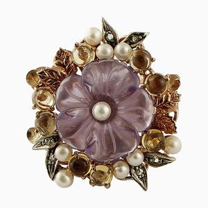Rose Gold and Silver Cocktail Ring with Topazes, Amethyst Flower, Pearls and Diamonds