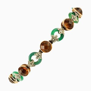Rose Gold and Silver Link Bracelet with Diamonds, Green Agate Rings & Yellow Stones
