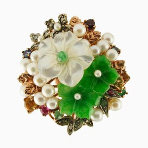 Gold & Silver Ring with Diamonds, Rubies, Emeralds, Sapphires, Green Agate & Mother-of-Pearl