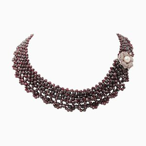 Handcrafted Multi-Strand Necklace with Rubies, Garnets, Pearl, 9 Karat Gold and Silver