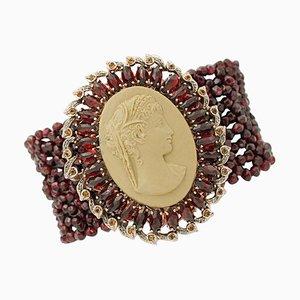 Braccialetto cammeo fatto a mano con diamanti, granati, topazi, oro rosa 9 carati e argento