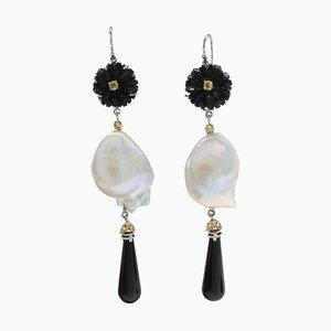 Boucles d'Oreilles Artisanales en Or, Diamant, Saphir, Onyx et Perle Baroque, Set de 2