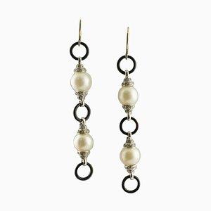 Boucles d'Oreilles Artisanales en Onyx, Perles d'Australie, Diamants et Or Blanc, Set de 2