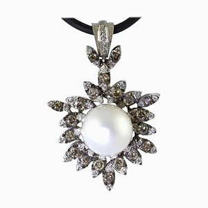 Handcrafted Pendant with Diamonds, Pearl & White Gold