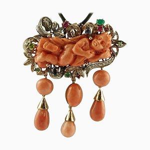 Pendentif en Or et Argent avec Corail Orange, Diamants, Rubis, Émeraudes et Saphirs Bleus