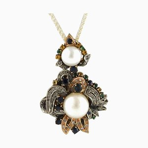 Handcrafted Pendant with Diamonds, Pearls, Sapphires, Emeralds, Rose Gold, and Silver