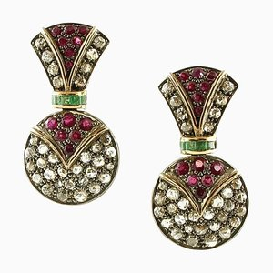 Boucles d'Oreilles Artisanales Diamants, Rubis, Émeraudes, Or Rose et Argent, Set de 2