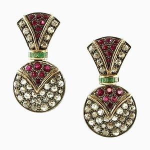 Handgefertigte Ohrringe mit Diamanten, Rubinen, Smaragden, Roségold und Silber, 2er Set