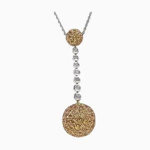 Handgefertigte Halskette mit Anhänger aus Gold, Silber, Diamant und Topas