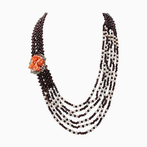 Handcrafted Necklace with Garnets, Diamonds, Emeralds, Topaz, Pearls, Coral, 9 K Gold and Silver