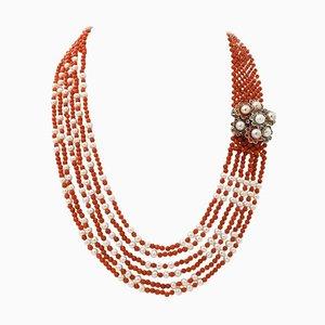 Handcrafted Necklace with Topazes, Emeralds, Sapphires, Corals, Pearls, 9 Karat Rose Gold and Silver