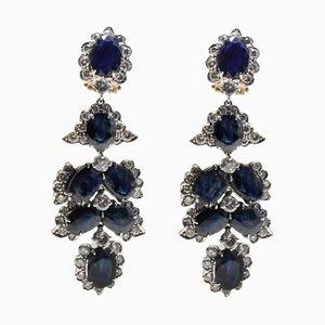 Boucles d'Oreilles Lustre Diamants et Saphirs en Or Rose et Argent, Set de 2