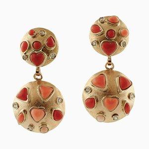 Boucles d'Oreilles Diamants, Corail Rose et Rouge, Or Rose 14 Carats, Set de 2