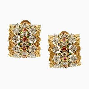 Boucles d'Oreilles Artisanales avec Diamants Blancs, Rubis, Saphirs Bleus, Tsavorites et Or Jaune 18k, Set de 2