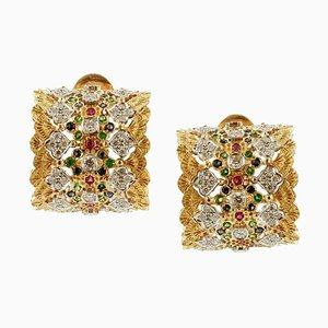 Handcrafted Clip-on White Diamonds, Rubies, Blue Sapphires, Tsavorites and 18k Yellow Gold Earrings, Set of 2