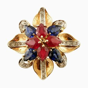 Handcrafted Flower Ring with Diamonds, Rubies, Sapphires & 14 Karat Rose Gold