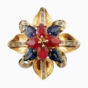 Handgefertigter Blumenring mit Diamanten, Rubinen, Saphiren & 14 Karat Roségold
