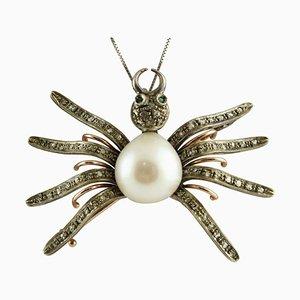 Diamant, Smaragd, Perle, Gold und Silber Spider Anhänger oder Brosche