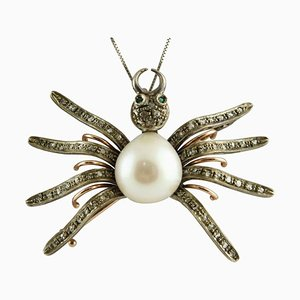 Pendentif ou Broche Araignée en Diamant, Emeraude, Perle, Or et Argent