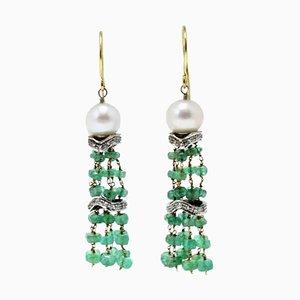 Orecchini pendenti in oro bianco e rosa con diamanti, smeraldi e perle, set di 2