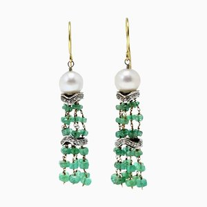 White & Rose Gold Dangle Earrings with Diamonds, Emeralds and Pearls, Set of 2