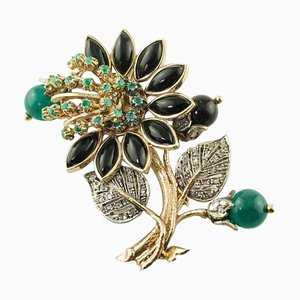 Rose Gold and Silver Brooch with Diamonds, Emeralds, Onyx & Green Agate