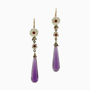 Rose Gold and Silver Earrings with Diamonds, Rubies, Mother of Pearl & Amethyst, Set of 2