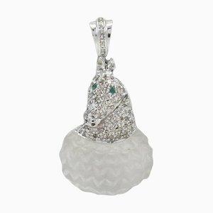 Handgefertigter Anhänger aus Gold, Silber, Diamant, Smaragd & Bergkristall