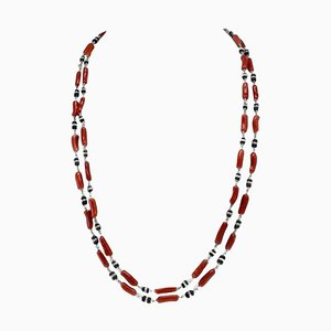 Handcrafted Multi-Strand Necklace or Bracelet in Red Coral, Onyx & White Gold