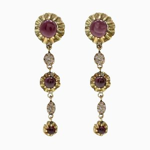 Handcrafted Dangle Earrings with Garnet, Diamond & Gold, Set of 2