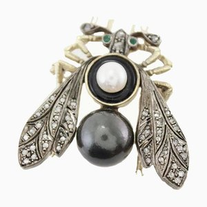 Handcrafted Fly Brooch in Black and White Pearl, Diamond, Silver & Gold