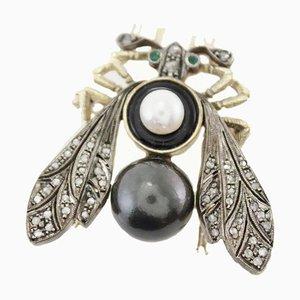 Spilla a forma di mosca fatta a mano in perla bianca e nera, argento e oro