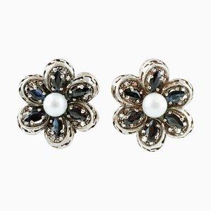 Handgefertigte Ohrringe aus 14 Karat Roségold und Silber mit Diamanten, blauen Saphiren, Perlen, 2er Set