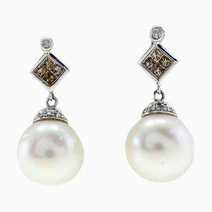 Handgefertigte Ohrringe mit Diamanten, Perlen & Gold, 2er Set