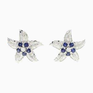 Handgefertigte Luise Baguette, Geschliffene Diamanten und Blaue Saphir Stern Ohrringe, 2er Set