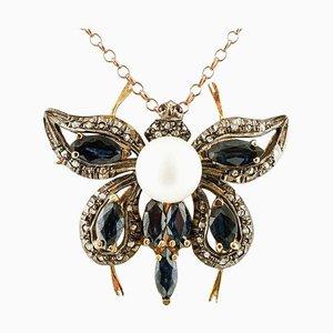 Pendentif ou Broche Papillon Artisanal en Diamants, Saphirs Bleus, Perle, Or Rose 14K et Argent