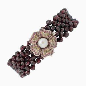 Braccialetto artigianale con rubini, granati, oro rosa 9 carati e argento